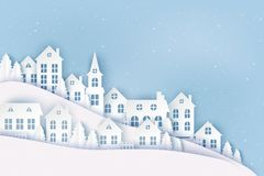 Winter urban countryside landscape, village with cute paper houses. Pine trees and snow. Merry Christmas and New Year paper art background royalty free illustration