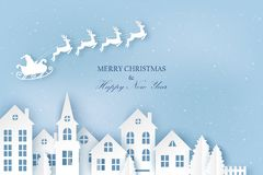 Winter urban countryside landscape village with cute paper houses. Pine trees and Santa with deers flying in the sky. Merry Christmas and New Year paper art royalty free illustration