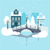 Winter Urban Landscape Flat Design Stock Images