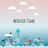 Winter urban landscape in flat style. Vector illustration. Stock Photos