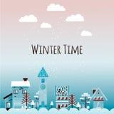 Winter urban landscape in flat style. Vector illustration. stock photos