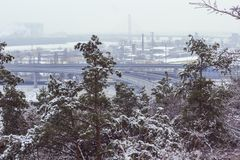 Winter urban landscape: in the foreground green pines, in the distance - the freeway and factory buildings.  royalty free stock photo