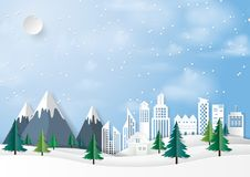 Winter urban landscape paper art background. Winter season and urban landscape paper art style background.Nature and environment conservation concept design Royalty Free Stock Photo