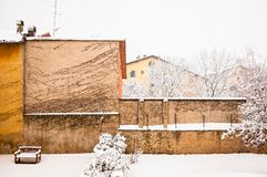 Winter urban scape with intense snowfall Royalty Free Stock Photo