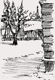 Winter urban sketch Royalty Free Stock Photo