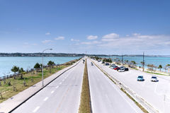 Winter of Uruma sea road. Sea road of tourist spot of Okinawa Prefecture Uruma Stock Image