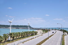 Winter of Uruma sea road. Sea road of tourist spot of Okinawa Prefecture Uruma Stock Photo