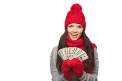 Winter us dollar woman Stock Photography