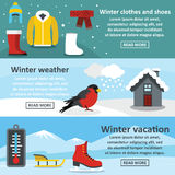 Winter vacation banner set, flat style Royalty Free Stock Photo