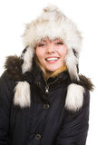 Winter vacation. Cheerful girl in warm clothes. Royalty Free Stock Photography