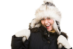 Winter vacation. Cheerful girl in warm clothes. Royalty Free Stock Images