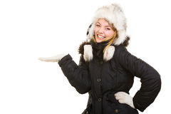 Winter vacation. Cheerful girl in warm clothes. Royalty Free Stock Photos
