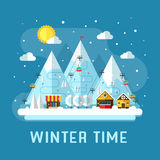 Winter Vacation Flat Landscape Royalty Free Stock Images