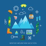 Winter vacation flat vector icon set Stock Photo