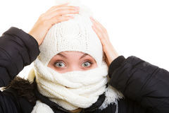Winter vacation. Girl covering face with scarf. Royalty Free Stock Image
