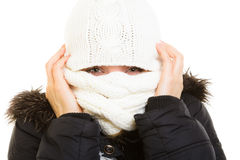 Winter vacation. Girl covering face with scarf. Stock Images