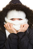 Winter vacation. Girl covering face with scarf. Royalty Free Stock Photos