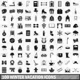 100 winter vacation icons set, simple style. 100 winter vacation icons set in simple style for any design vector illustration Royalty Free Stock Photography