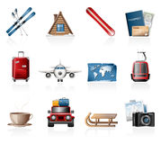 Winter Vacation Icons Stock Image