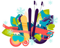 Winter vacation. Sports accessories and equipment. Vector illustration Stock Photography