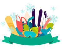 Winter vacation. Sports accessories and equipment. Vector illustration Stock Photo