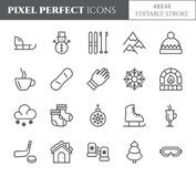 Winter vacation theme pixel perfect thin line icons. Set of elements of snow, mountains, skis, skates, sleigh, tree, clothes, hot. Drinks, other winter holidays Royalty Free Stock Photo