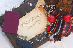 Winter vacation travel tips. Background Stock Photo