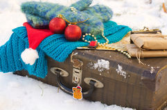 Winter vacation travel tips. Winter vacation suitcase.Travel tips Stock Photos