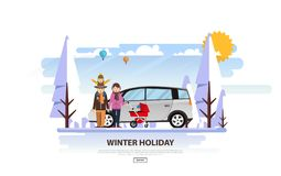 Winter Vacation Vector Backgound. White Snowy Landscape with Family Royalty Free Stock Images