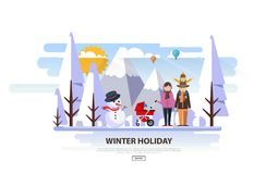 Winter Vacation Vector Backgound. White Snowy Landscape with Family Royalty Free Stock Photography