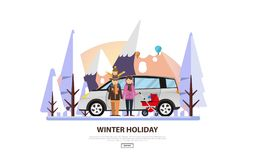 Winter Vacation Vector Backgound. White Snowy Landscape with Family Royalty Free Stock Image