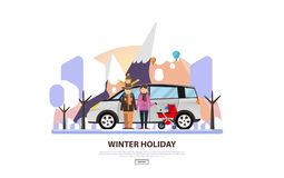 Winter Vacation Vector Backgound. White Snowy Landscape with Family Royalty Free Stock Photo