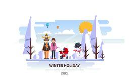 Winter Vacation Vector Backgound. White Snowy Landscape with Family Stock Photography