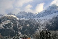 Winter valley in Alps Royalty Free Stock Photo