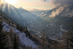 Winter valley in Alps Stock Image