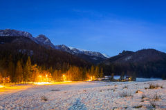Winter valley and Mount Giewont in Tatra mountains Royalty Free Stock Image