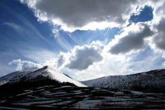 /winter van Castelluccio landschap Stock Foto's