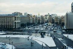 Winter van onafhankelijkheids de Vierkante Kiev de Oekraïne Stock Foto