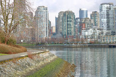 Winter and Vancouver`s False Creek Royalty Free Stock Photography