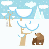 Winter vector background with animals and snow forest Royalty Free Stock Photo