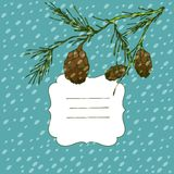 Winter vector background with vignette and fir tree Royalty Free Stock Photos