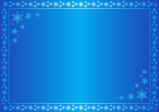 Winter vector blue frame with snowflakes Stock Photos