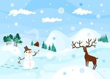 Winter. Vector colorful beautiful winter illustration Royalty Free Stock Photos