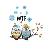 Winter vector couple owls in the swimsuits on a tree branch. An insulated design   white background for print  t-shirts Stock Photography