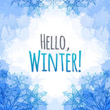 Winter vector cover  with doodle snowflakes and blue blobs Royalty Free Stock Photo