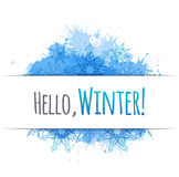 Winter vector cover with doodle snowflakes and blue blobs Stock Images