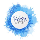 Winter vector cover with doodle snowflakes and blue blobs Royalty Free Stock Photos