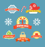 Winter vector discount labels set Stock Images
