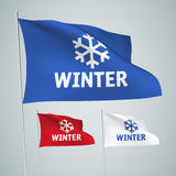 Winter - vector flags with text and snowflake Stock Photo