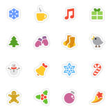 Winter vector flat stickers icon set on white. Winter and Christmas vector stickers icon set on white background. Flat style winter and Christmas labels Stock Image